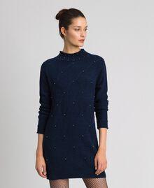 Minikleid aus Wollmischung mit Rauten und Nieten Nachtblau Frau 192ST3181-01