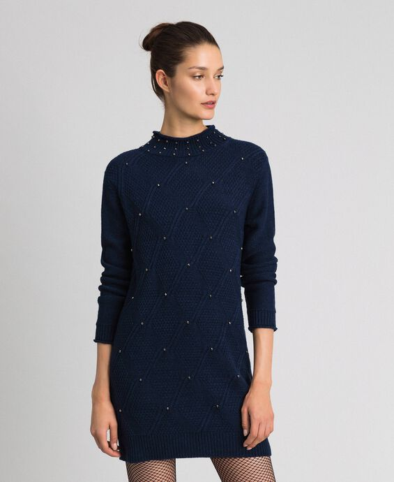 Wool blend mini dress with lozenges and studs