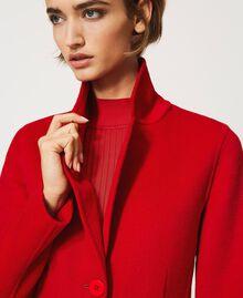 Mantel aus zweilagigem Tuch Kirsch Rot Frau 202TP2033-06