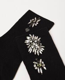 Socquettes ornées de fleurs brodées Noir Femme 201TA4416-02