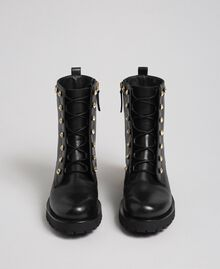 Leather combat boots with stones Black Woman 192TCP01N-04