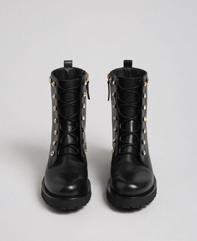Кожаные ботинки-амфибии с шатонами Черный женщина 192TCP01N-04