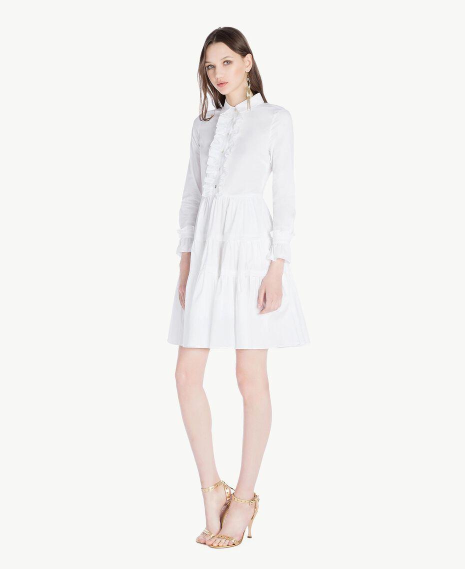 Kleid aus Popeline Weiß Frau TS821X-02