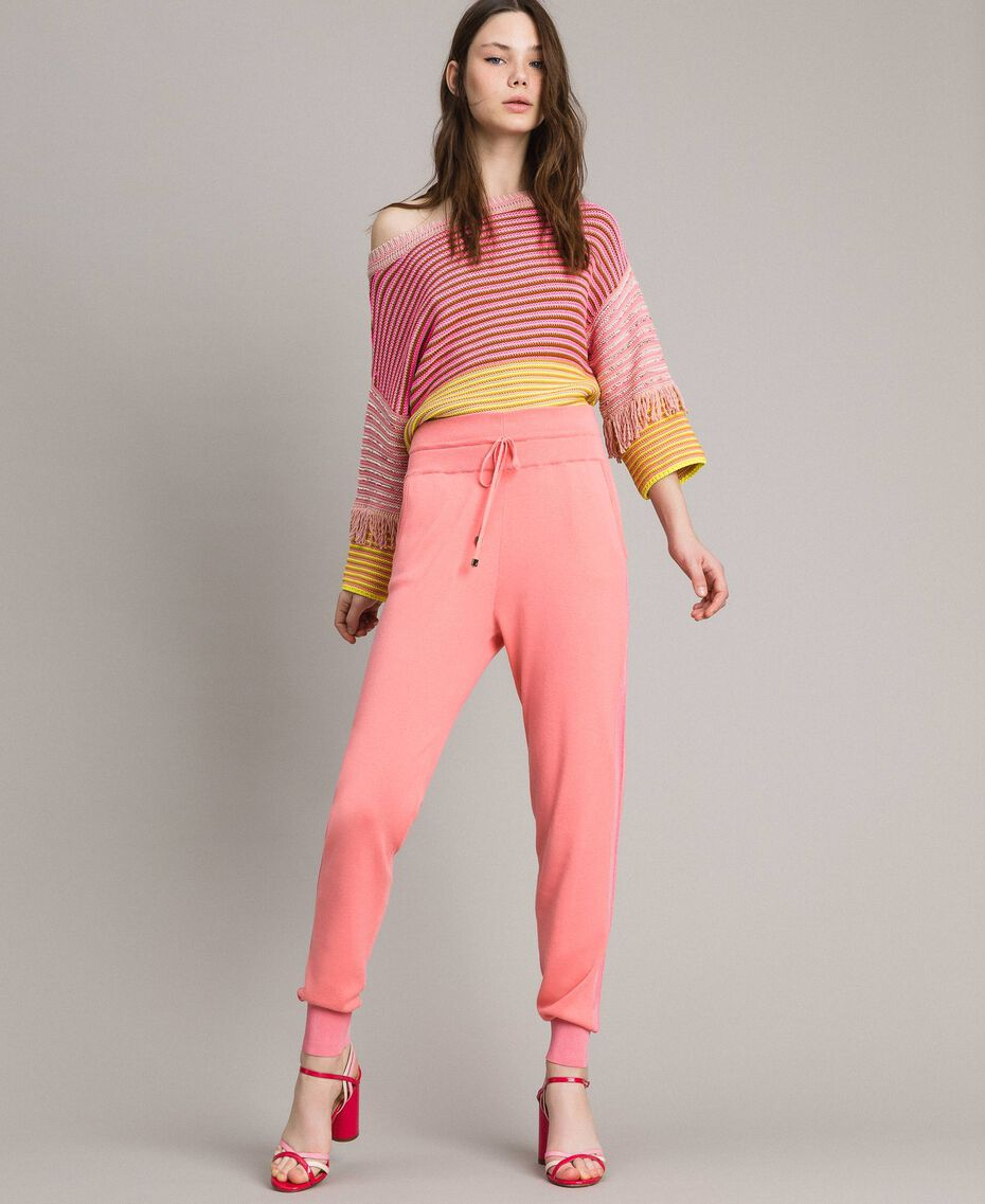 Patchwork effect top with fringes Patchwork Pink  / Yellow Striping Woman 191TP3311-01