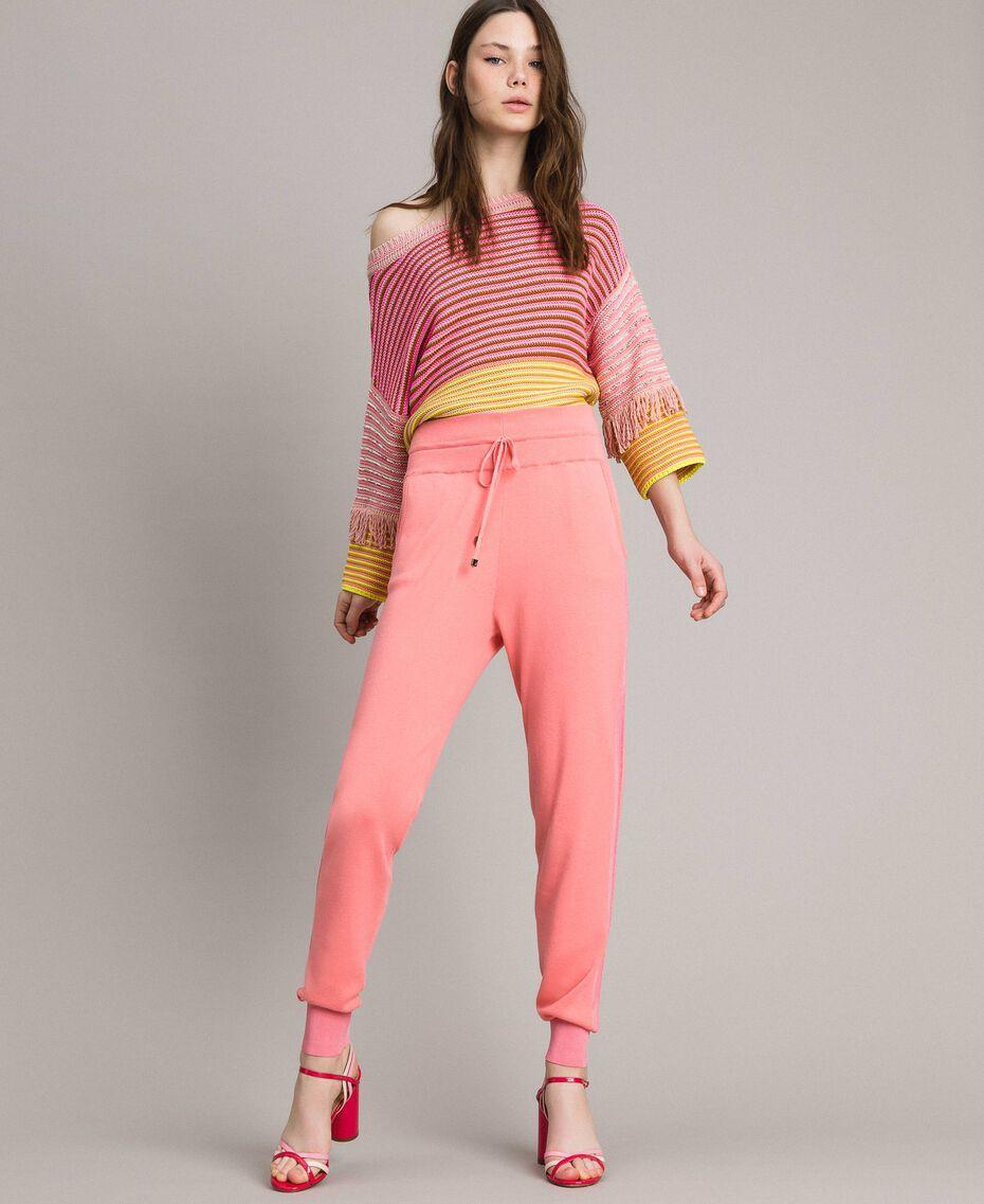 Pullover im Patchwork-Look mit Fransen Streifen Patchwork Pink / Gelb Frau 191TP3311-01