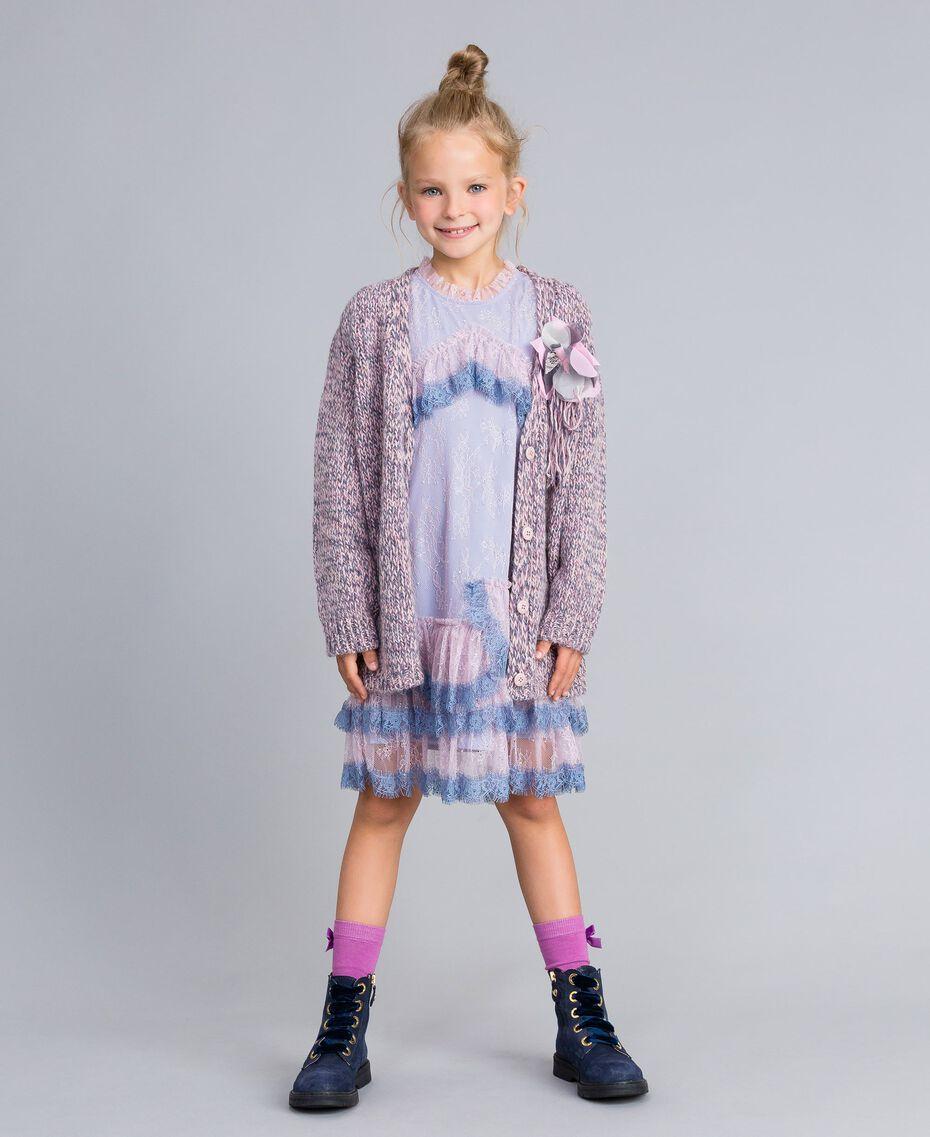 Maxi cardigan in mouliné yarn Multicolour Jacquard Child GA83EN-0T