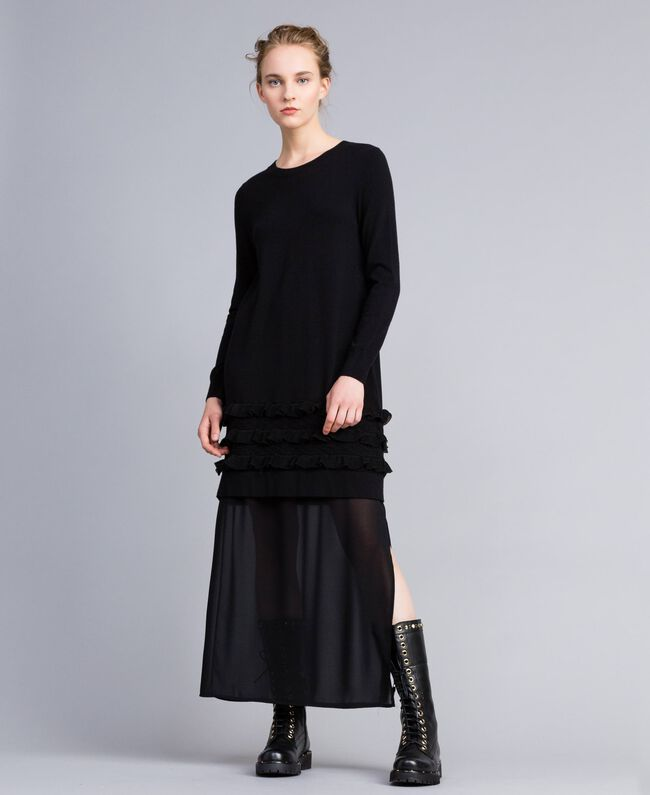 Knitted dress with ruches and inlay Black Woman PA83CR-01