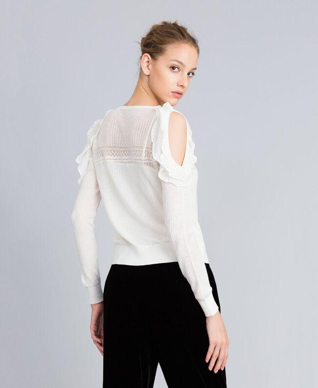 Pullover aus Wollmischung mit Mustermix Weiß Schnee Frau PA83C3-03