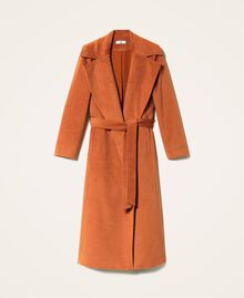 Abrigo largo de paño Rojo Terracota Mujer 202LI2CAA-0S