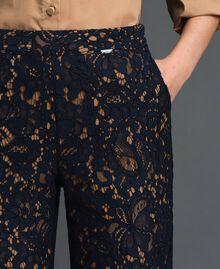 "Macramé lace flared trousers ""Sequoia"" Beige / Night Blue Woman 192ST208D-04"