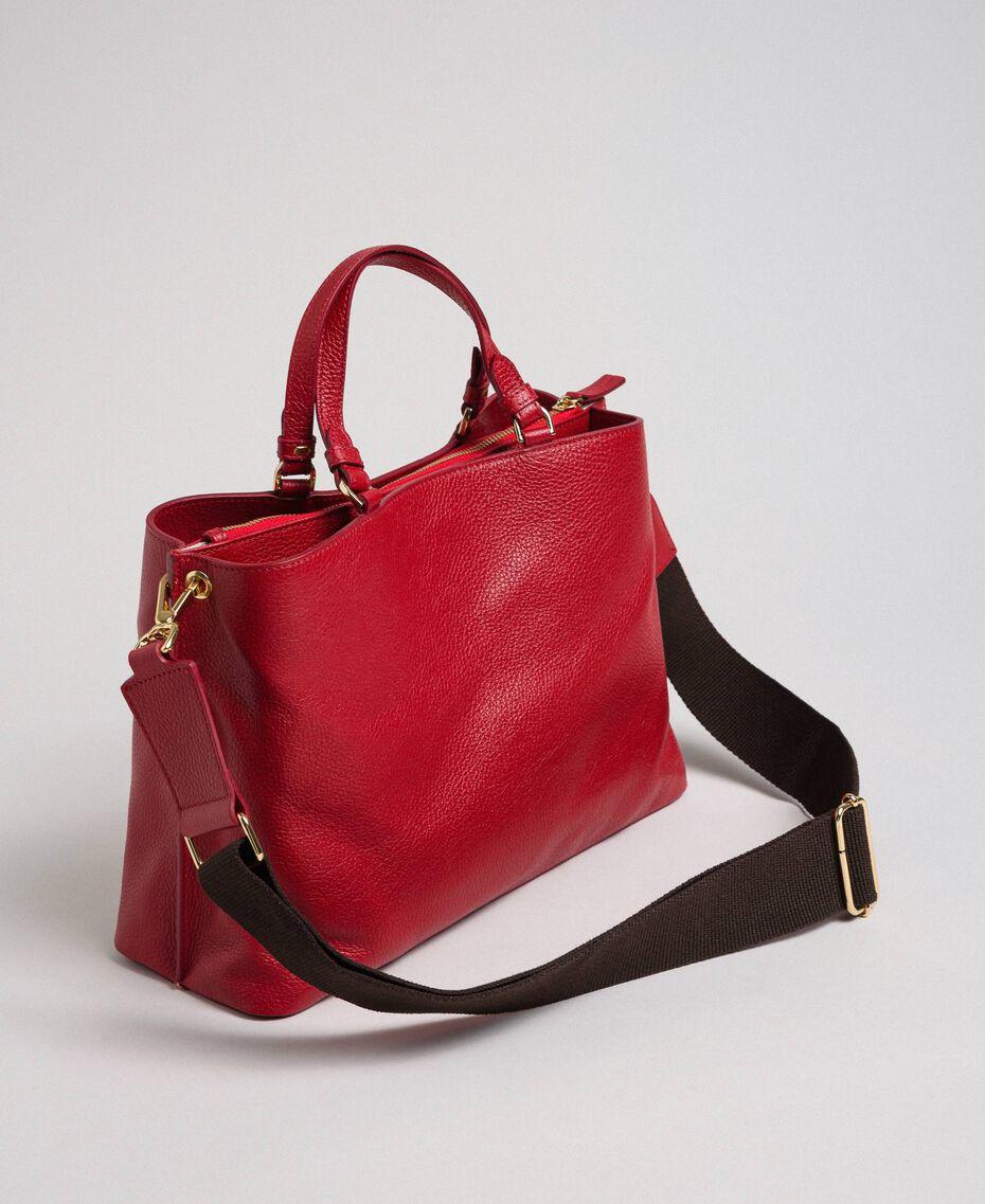 Borsa shopper piccola in pelle con tracolla Rosso Veneziano Donna 192TO8091-03
