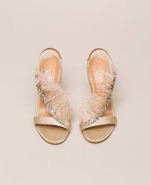 Satin sandals with feathers Nougat Beige Woman 999TCP032-05