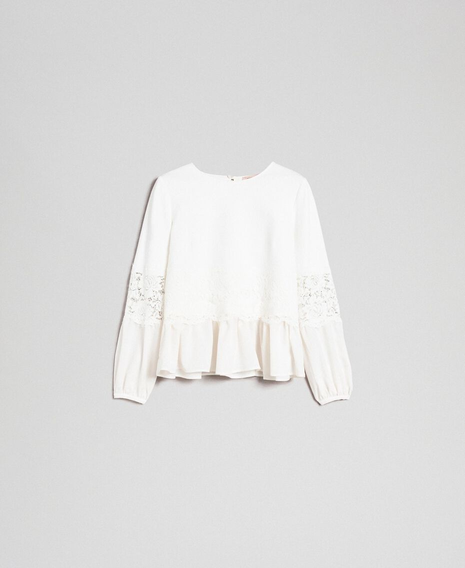 Blouse with macramé lace and flounce White Snow Woman 192TT2213-0S