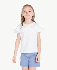 "T-shirt ruches Bianco ""Papers"" Bambina GS82KQ-02"