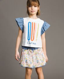 Jersey T-shirt and chambray details White Child 191GJ2650-0S