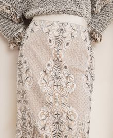 Кружевная юбка с вышивками Слоновая кость женщина 201TP2464-04