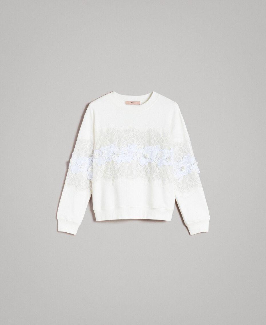 Sweatshirt mit Spitze und Makramee Milchweiß Frau 191TP2592-0S