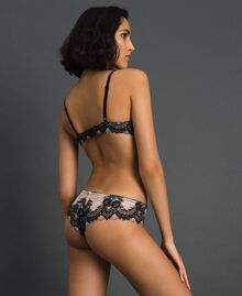 Lace Brazilian briefs Ivory / Black Woman 192LL6DXX-03