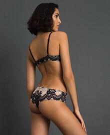 Culotte brésilienne en dentelle Ivoire / Noir Femme 192LL6DXX-03