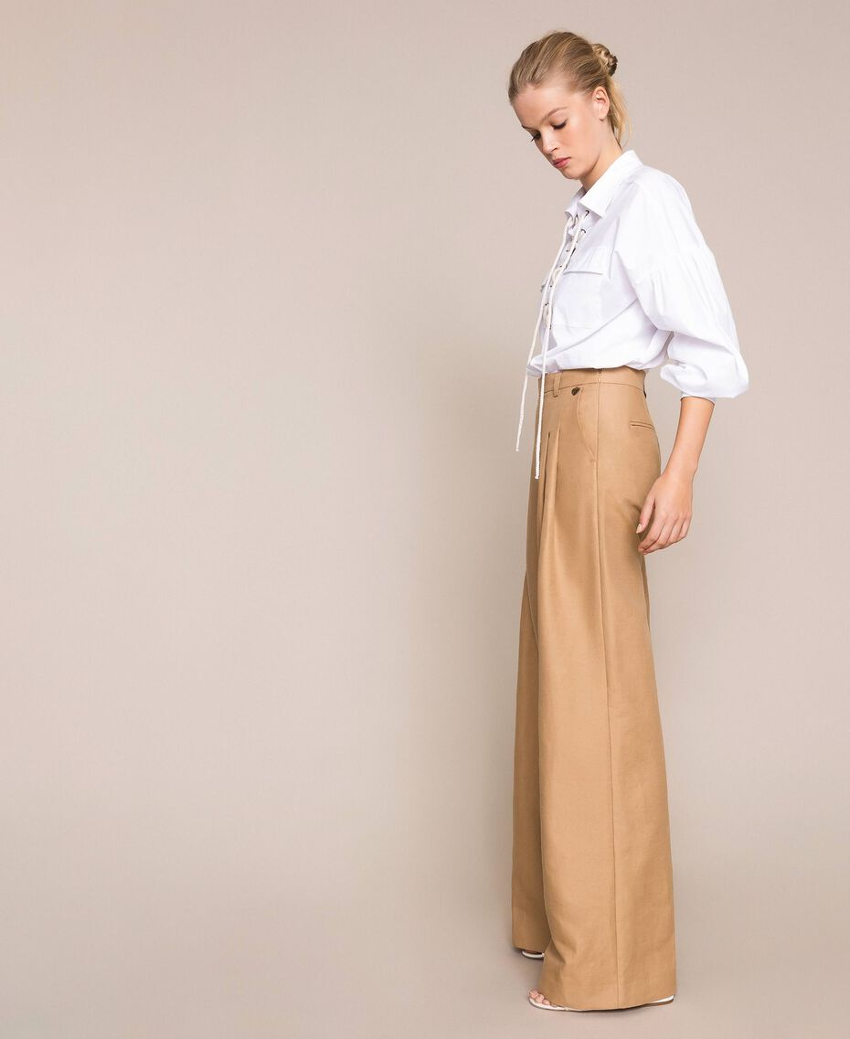 "Linen blend wide trousers ""Dune"" Beige Woman 201TP2257-02"
