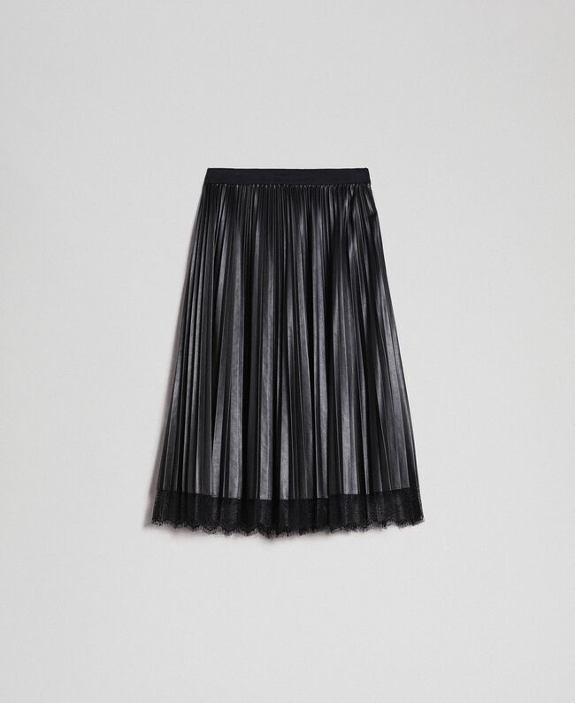 Faux leather pleated midi skirt Black Woman 192TP2064-0S