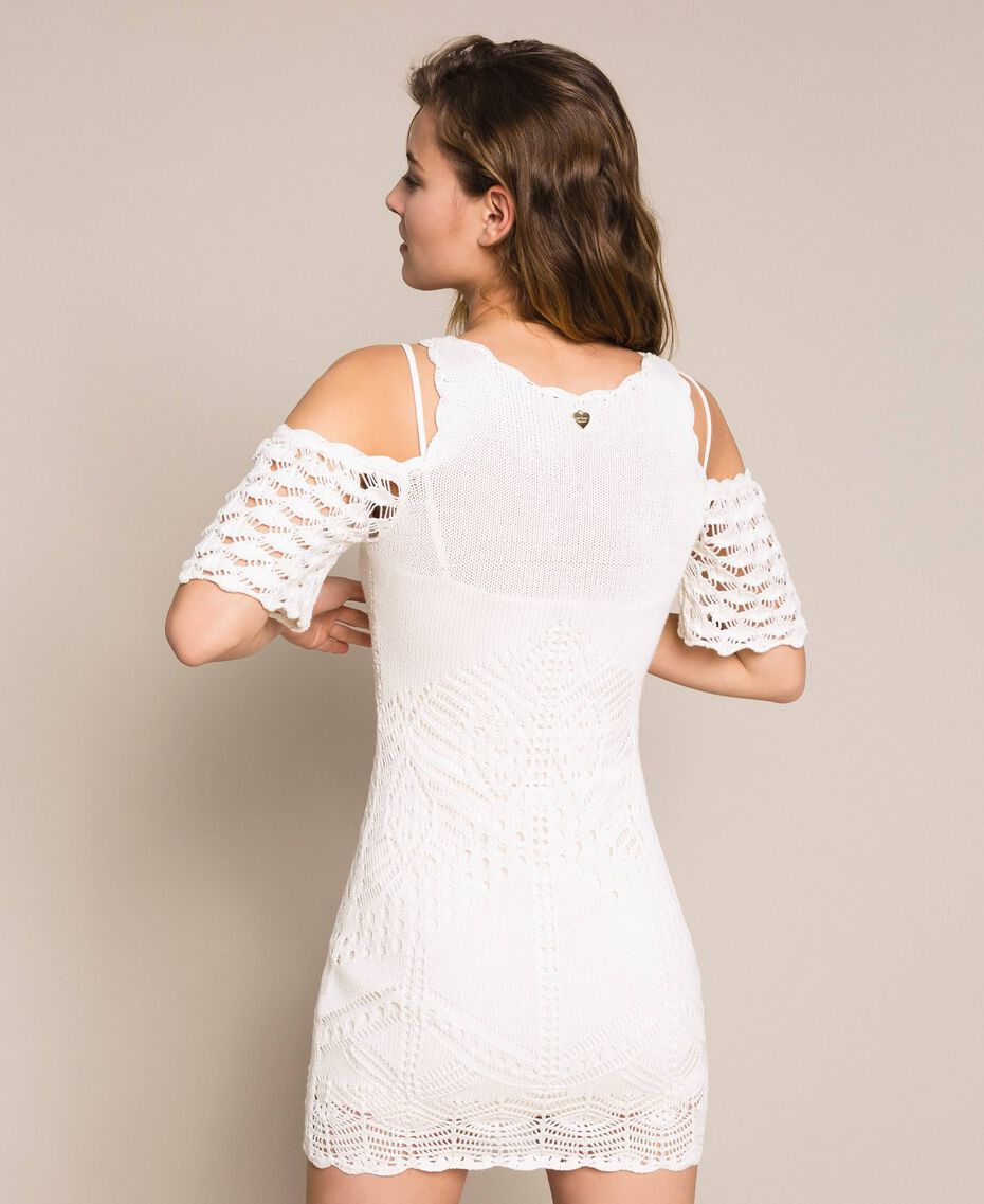 Embroidered crochet sheath dress with fringes White Snow Woman 201TT3151-03