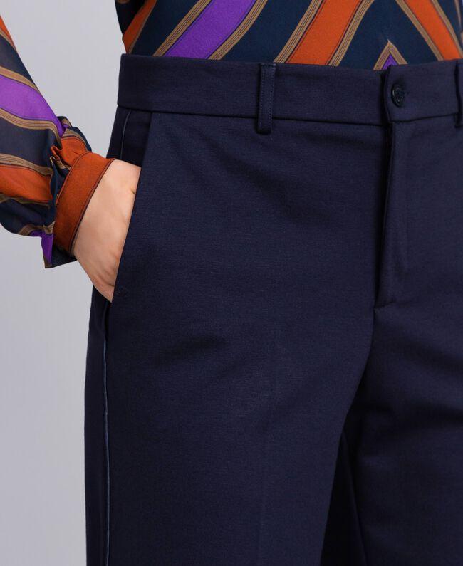 Pantalon en point de Milan Bleu Nuit Femme TA822F-04