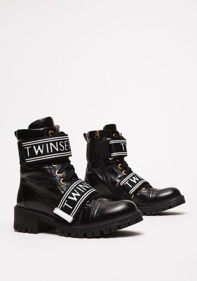 Кожаные ботинки-амфибии с логотипом