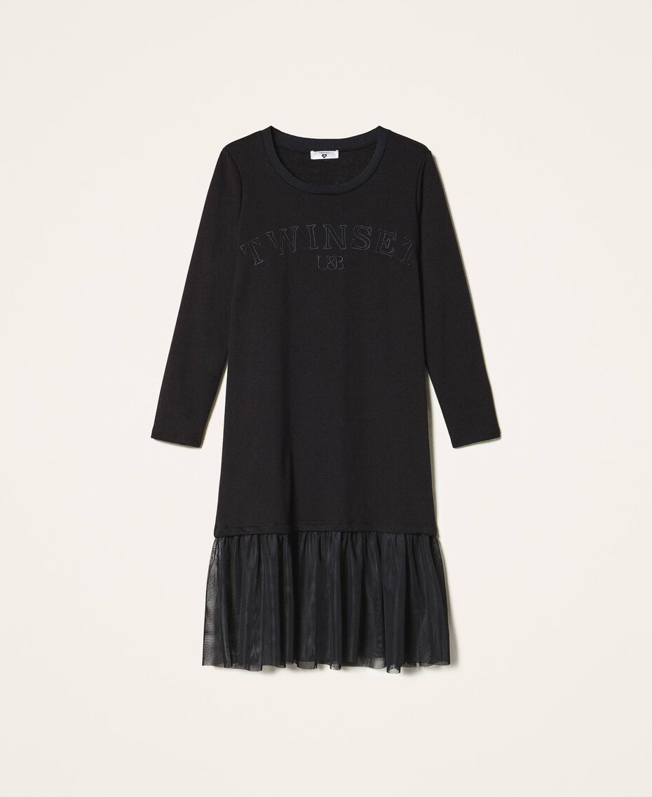 Long dress with tulle Black Woman 202LI2NLL-0S