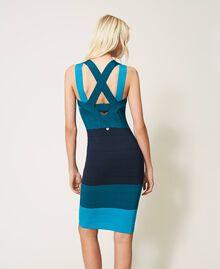 """Schlauchkleid aus Gestrick im Color-Block-Look """"Multicolor""""-Blau Frau 202TP3230-02"""