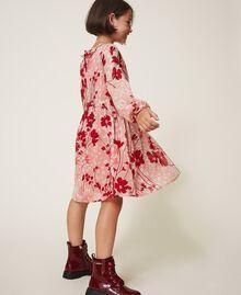 Robe en crêpe georgette floral Imprimé Animalier Fleurs Pêche / Rouge «Cerise» Enfant 202GJ262A-03