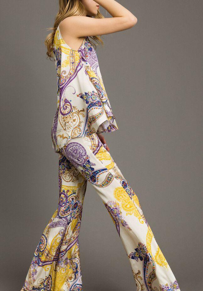 Pantalon palazzo avec imprimé paisley