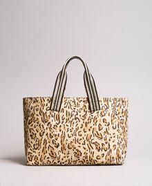 "Canvas beach bag with animal print ""Petra Sandstone"" Brown Animal Print Woman 191LM4UAA-03"