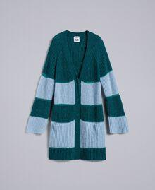 Maxi striped mohair cardigan with lurex Bicolour Jungle Light Blue / Denim Blue Woman YA831Q-0S