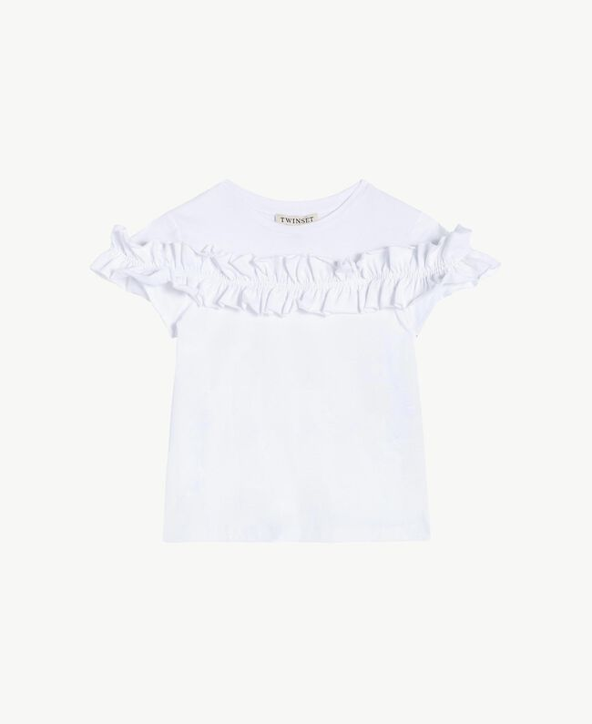 "T-shirt ruches Bianco ""Papers"" Bambina GS82KQ-01"