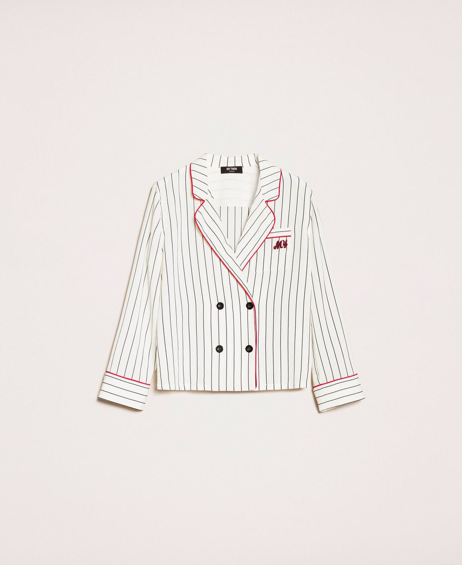 Striped crêpe de Chine shirt Vanilla / Black Stripes Woman 201MP2100-0S