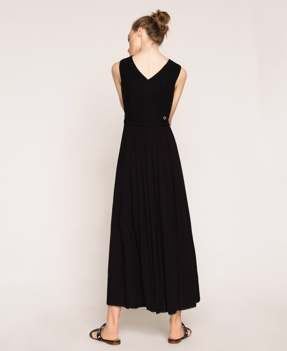 Long dress with crochet Black Woman 201LB36AA-02