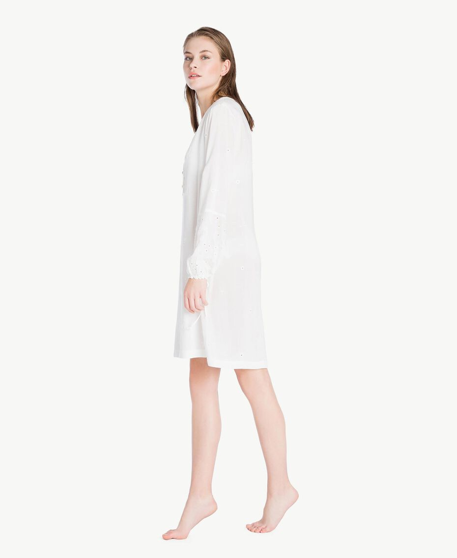 Broderie anglaise nightdress Ivory Woman LS8GBB-03