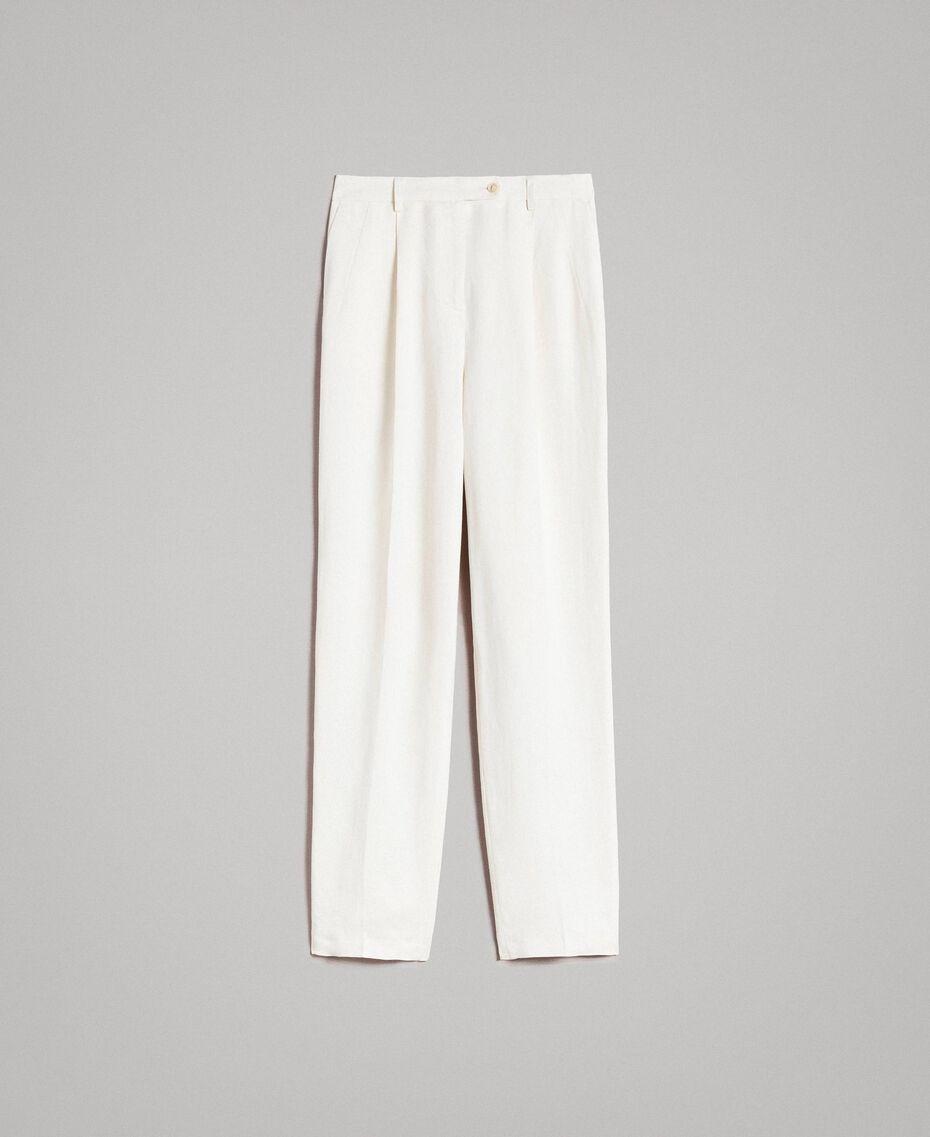 Pantalon à coupe cigarette en lin mélangé Blanc Neige Femme 191TP2201-0S