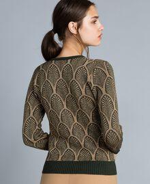 Pull en laine mélangée et lurex jacquard Jacquard Vert Forêt Or Lurex Femme TA8323-04