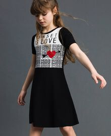 Jacquard knit dress with heart Jacquard Black / Off White Child 192GJ3161-02