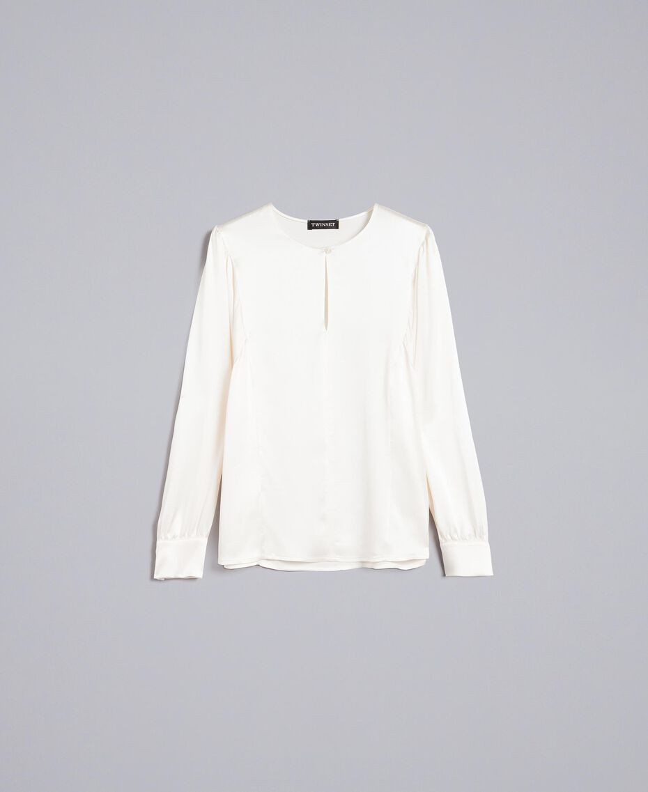 Bluse aus Satin aus Seidenmischung Weiß Schnee Frau TA82YA-0S