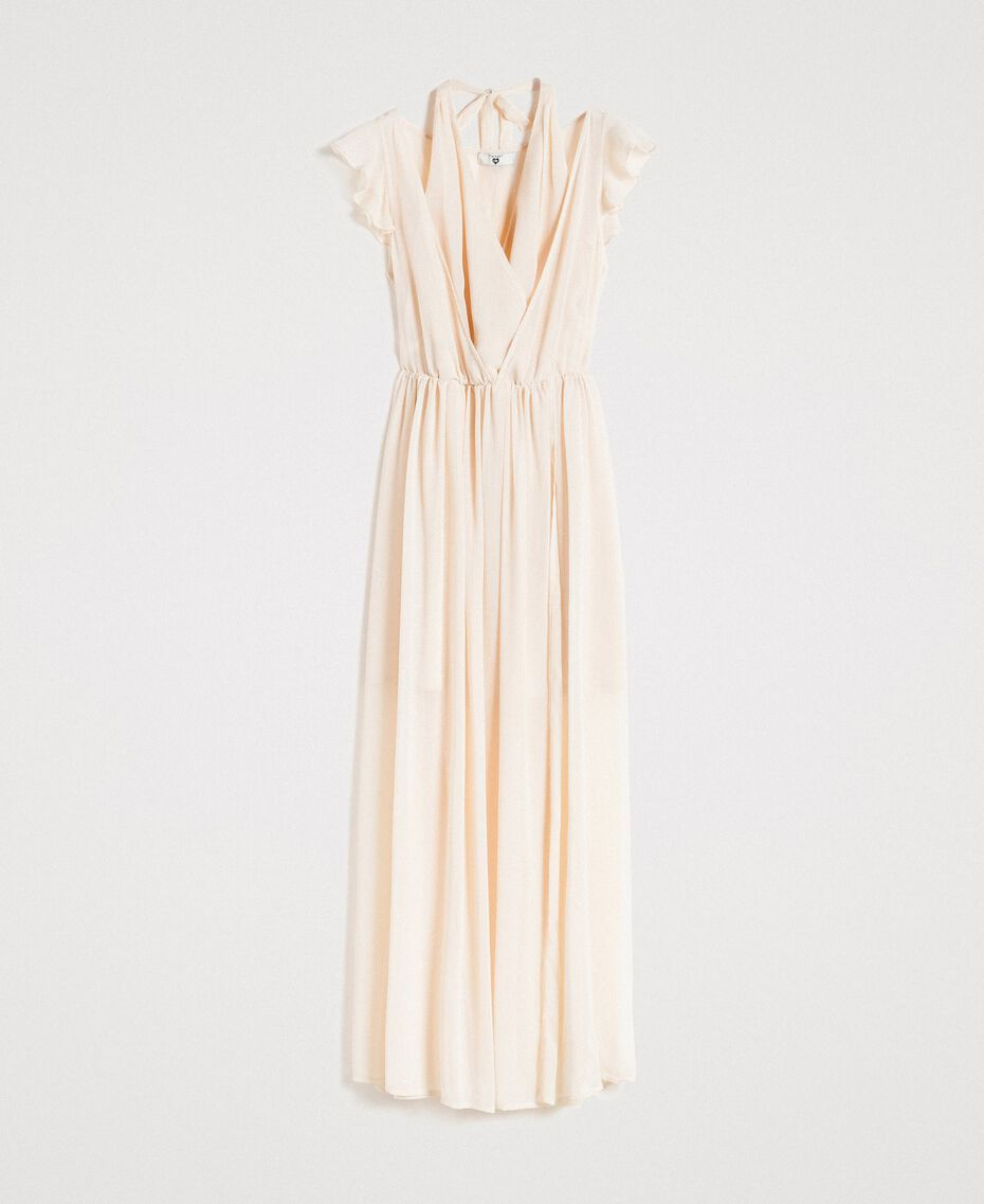 "Crepon long dress ""Milkway"" Beige Woman 191LB21HH-0S"