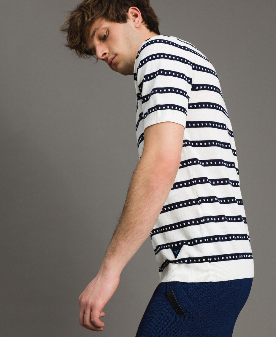 "Crêpe cotton striped polo shirt Two-tone Opaque White / ""Blackout"" Blue Man 191UT3030-02"