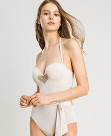 One-piece padded swimsuit with sequins Ivory Woman 191LMMCZZ-04
