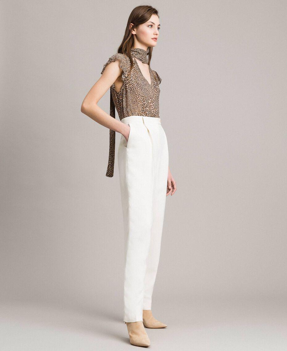 Pantalon à coupe cigarette en lin mélangé Blanc Neige Femme 191TP2201-02