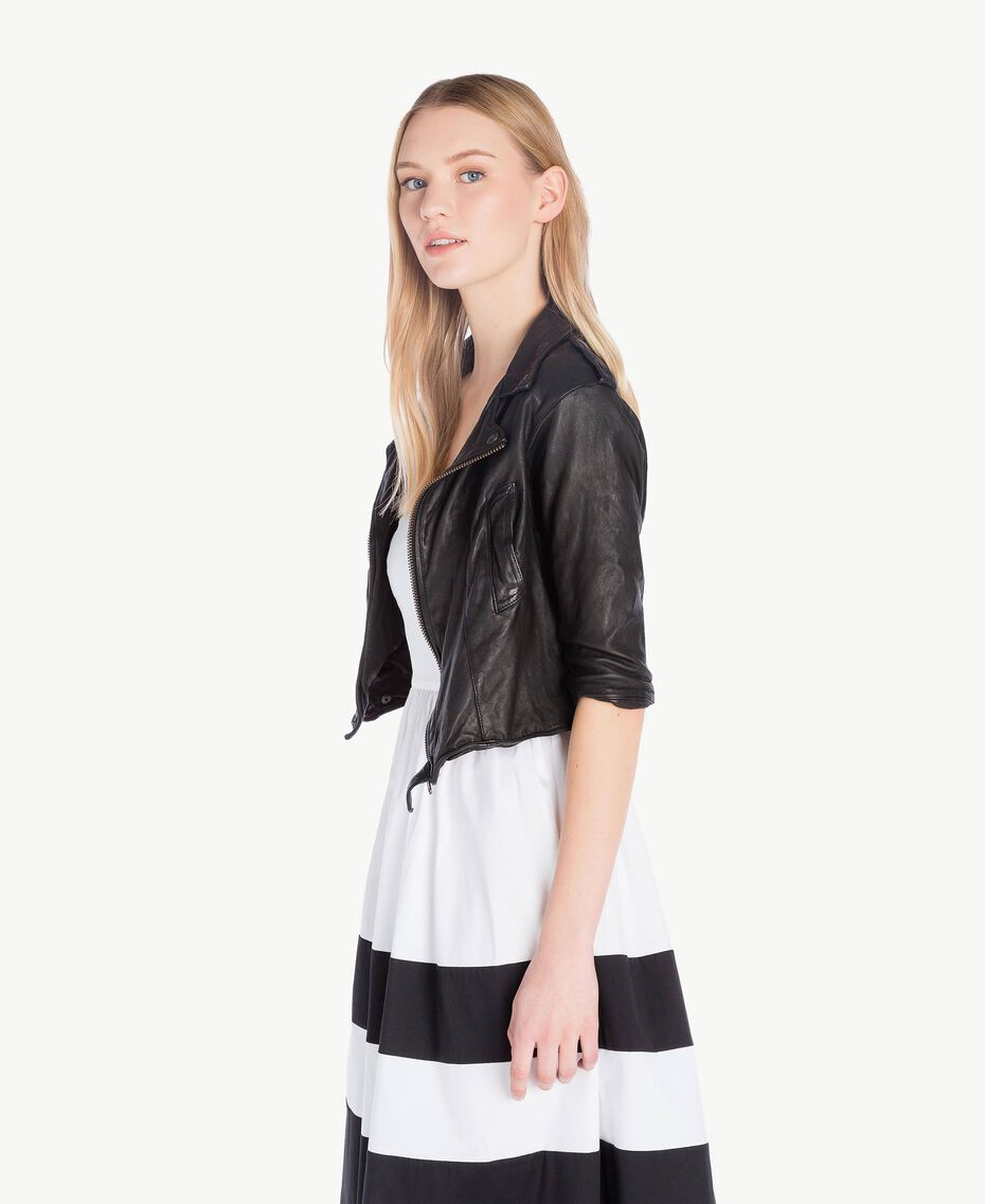 Leather biker jacket Black Woman YS82JG-02