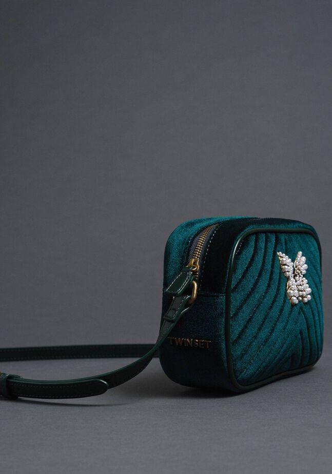 Бархатная сумка через плечо с бабочкой