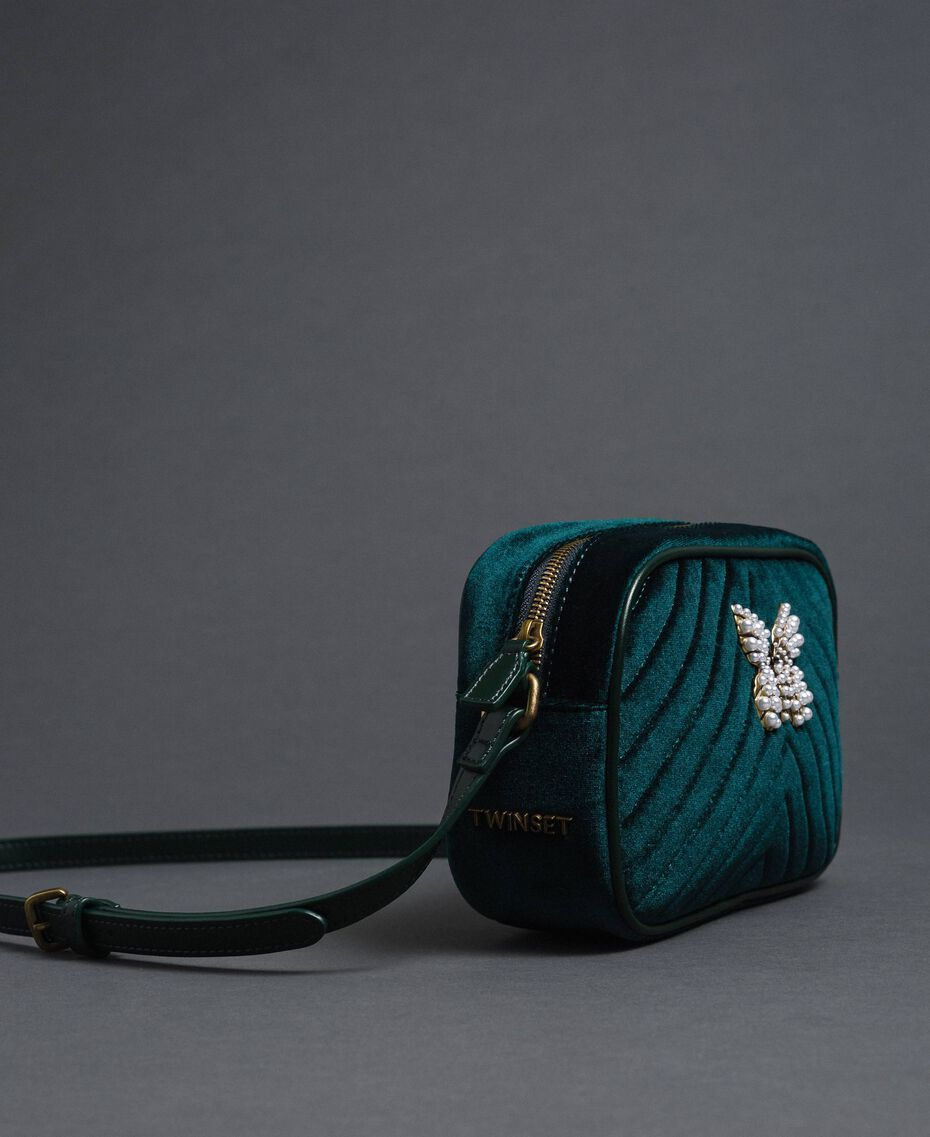 Velvet shoulder bag with butterfly Dark Green Woman 192TA7091-01