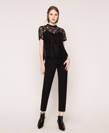 Lace blouse with flounce Black Woman 201ST2150-02